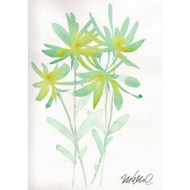Mint Botanical Watercolor Painting For Sale