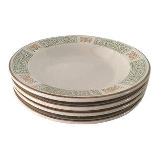 Vintage Green & Gold Homer Laughlin Soup Bowls - Set of 4 For Sale