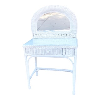 Wicker Rattan Vanity Desk With Mirror For Sale