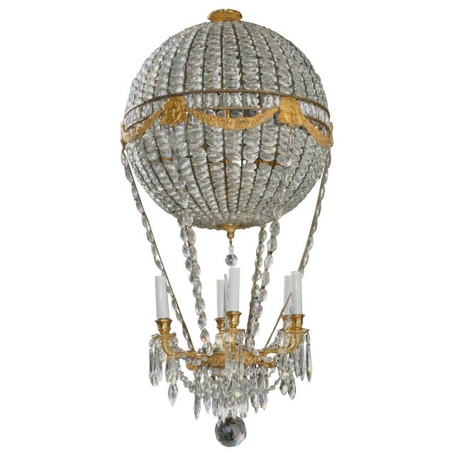 Montgolfier Ormolu and Crystal Hot Air Balloon Chandelier For Sale - Image 9 of 9