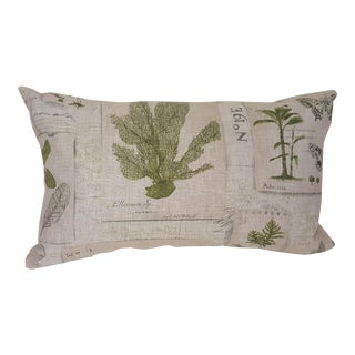 Green Botanical Bolster Pillow For Sale
