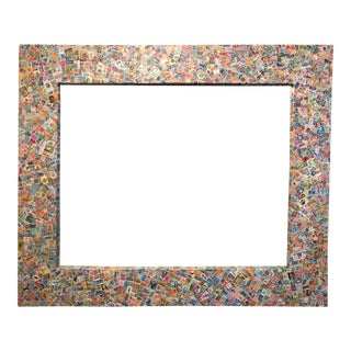 Postage Stamp Covered Decoupage Wall Mirror For Sale