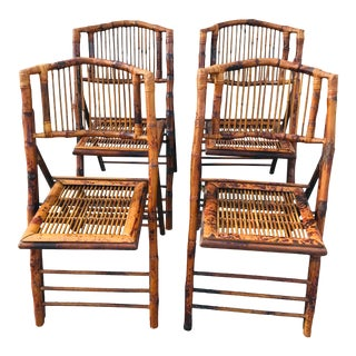 1980s Vintage Tortoise Bamboo Folding Chairs - Set of 4 For Sale
