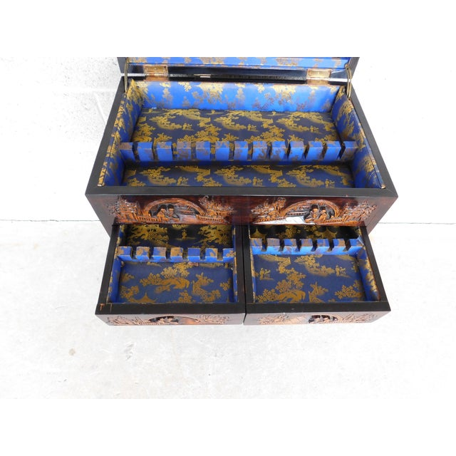 Mid 20th Century Vintage George Zee Asian Carved Silver Chest For Sale - Image 5 of 13