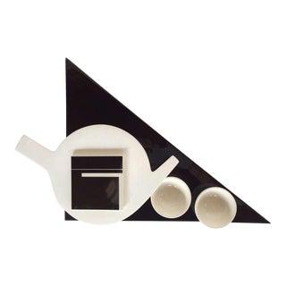 1980s Marek Cecula Black & White Ceramic Tea Set - 5 Pc. Set For Sale
