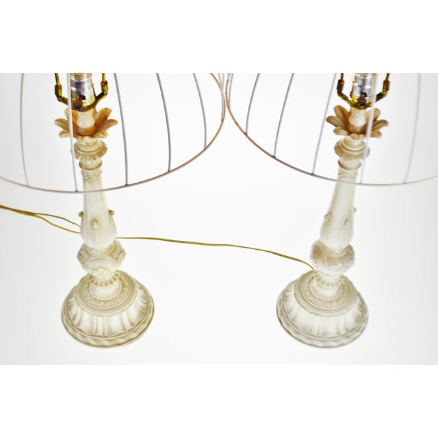 Vintage Metal Candlestick Table Lamps With Metal Cage lamp shades - a Pair For Sale - Image 9 of 12