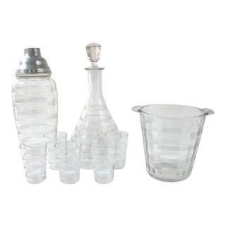 Libbey Striped Glass Barware - Set of 9
