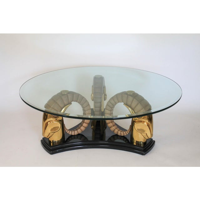 Hollywood Regency Rams Head Coffee Table For Sale - Image 3 of 11