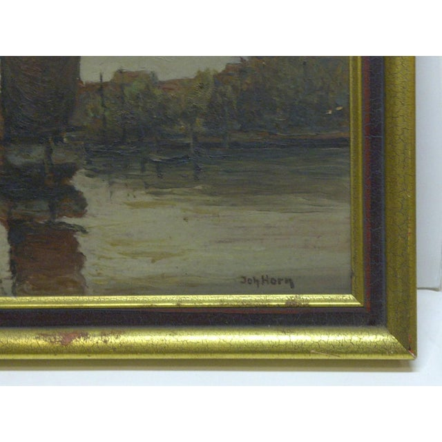 """Docked Boats"" Framed Painting on Board - Image 5 of 7"
