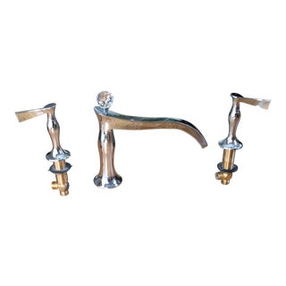 Art Nouveau Brizo Rsvp Three Hole Roman Tub Faucet With Handles - 3 Pieces For Sale