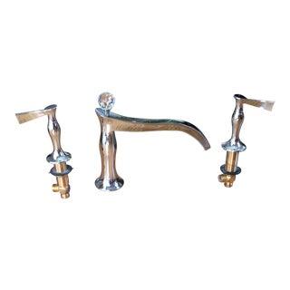 Art Nouveau Brizo Rsvp Three Hole Roman Tub Faucet With Handles - 3 Pieces For Sale