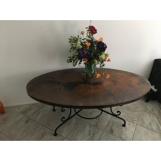 Arhaus Hammered Copper Oval Dining Table - Image 3 of 6