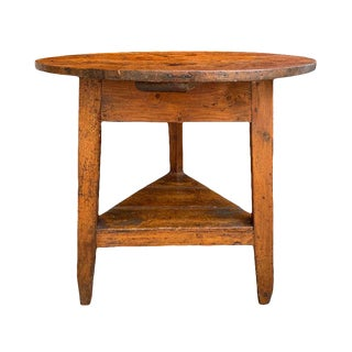 19th Century English Pine Cricket Table With Shelf For Sale