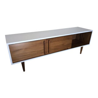 Mid-Century Wood Media Console With White Frame For Sale