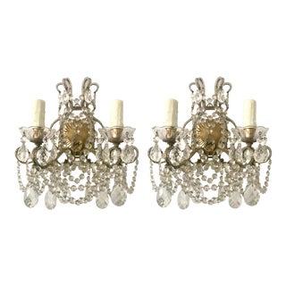 Italian Crystal Beaded Sconces - A Pair For Sale