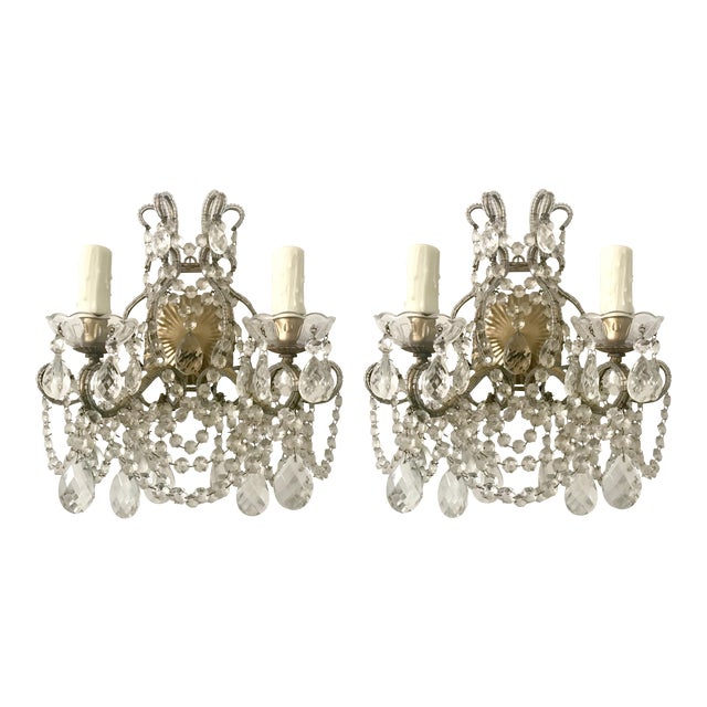 Italian Crystal Beaded Sconces - A Pair - Image 1 of 7