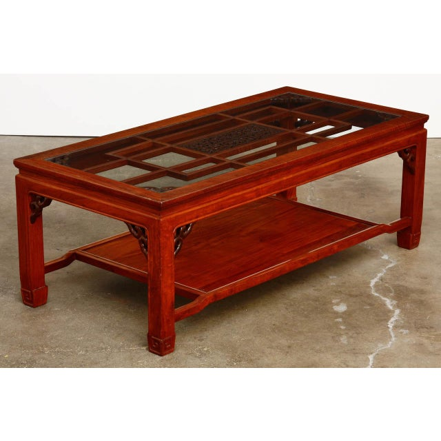 Chinese Carved Rosewood TwoTier Coffee Cocktail Table Chairish - Two level coffee table