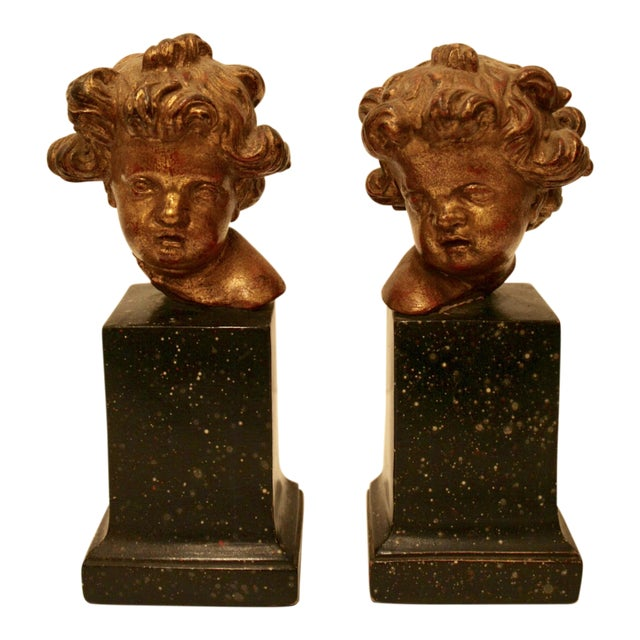 Rare Vintage Borghese Putti Cherub Gilt Bookends - A Pair For Sale