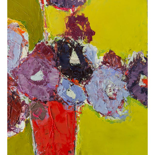 """Bill Tansey """"Brown Table"""" Abstract Floral Oil on Canvas For Sale - Image 4 of 5"""