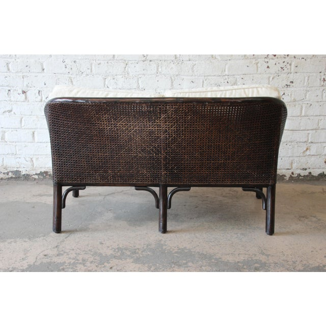 Rattan and Cane Settee or Love Seat by McGuire of San Francisco For Sale - Image 9 of 13