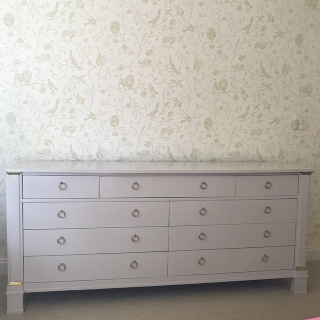Vintage Baker Dresser With Brass Accents For Sale - Image 10 of 10