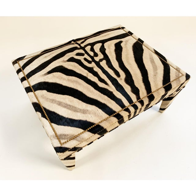 2010s Forsyth Zebra Hide Parsons Style Ottoman For Sale - Image 5 of 11