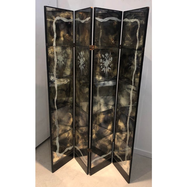Vintage Four Panel Mercury Mirror Folding Screen For Sale - Image 13 of 13