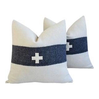 """22"""" Custom Tailored Appliqué Cross Wool/Linen Feather/Down Pillows - Pair"""