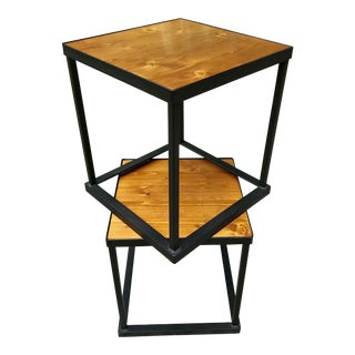 Vintage Side Tables Mod Cube Style Iron and Wood, a Pair