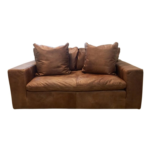 Modern Restoration Hardware Cloud Brown Leather Loveseat For Sale