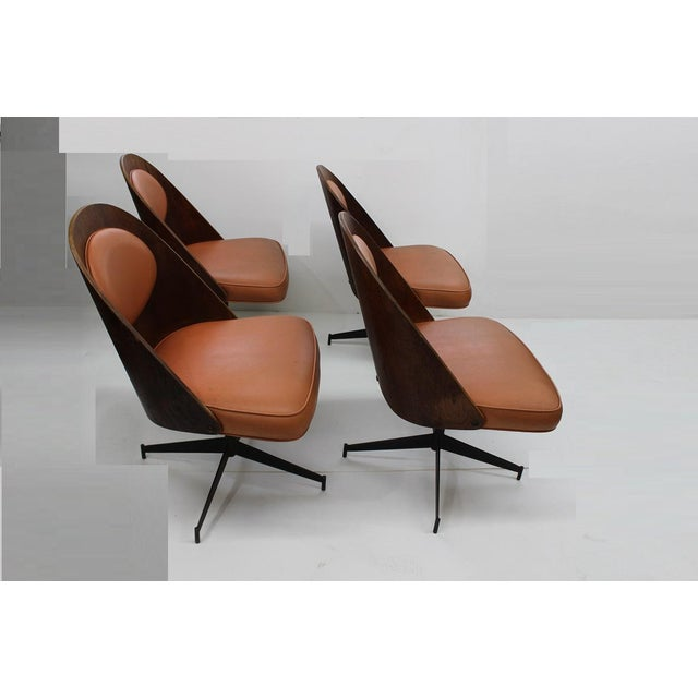 Mid-Century Modern Mid Century Modern Bent Plywood and Vinyl Dining Chairs For Sale - Image 3 of 13