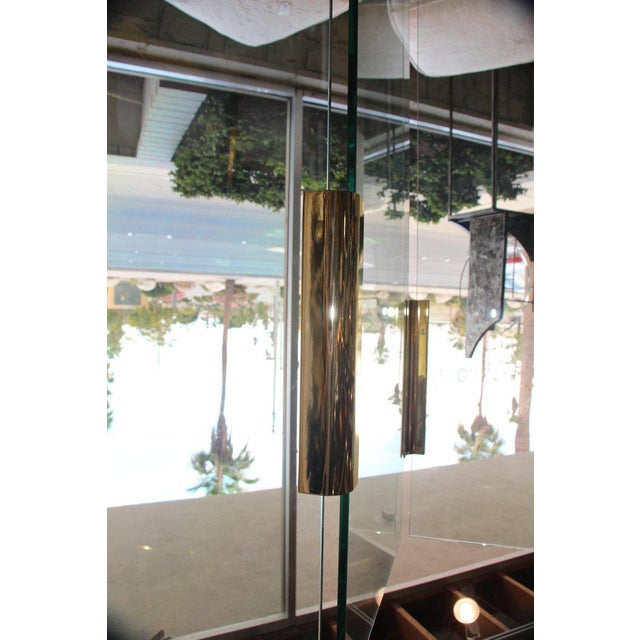 Brass Five-Panel Glass and Brass Hinge Room Divider For Sale - Image 7 of 13