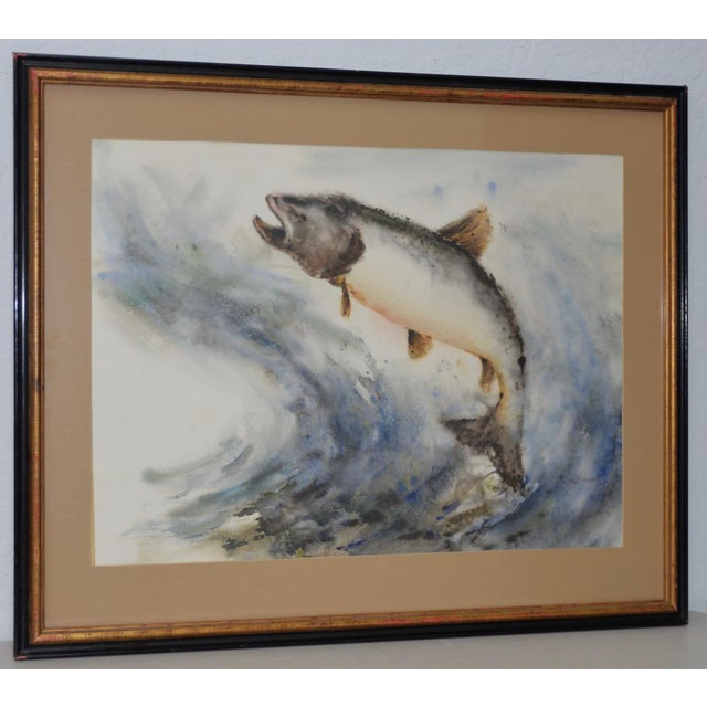 "Mabel Palmer (1903-1998) ""Up River"" Original Watercolor c.1960s For Sale - Image 9 of 9"