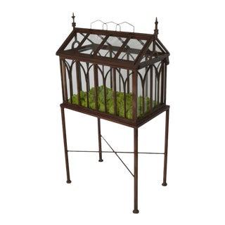 1900s Antique Wrought Iron Wardian Case Terrarium For Sale