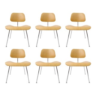 "Charles Eames ""Dcm"" Molded Plywood Chairs for Herman Miller White Ash - Set of 6 For Sale"