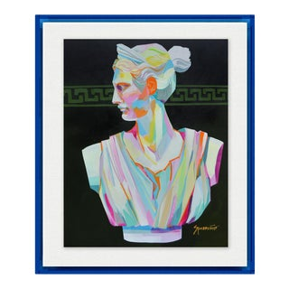 Greek Bust II by Jennifer Sparacino in Blue Translucent Acrylic Shadowbox, Small Art Print For Sale