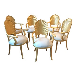Mid Century Hollywood Regency Venetian Grotto Shell Gold Carved Arm Chairs- 6 Available For Sale