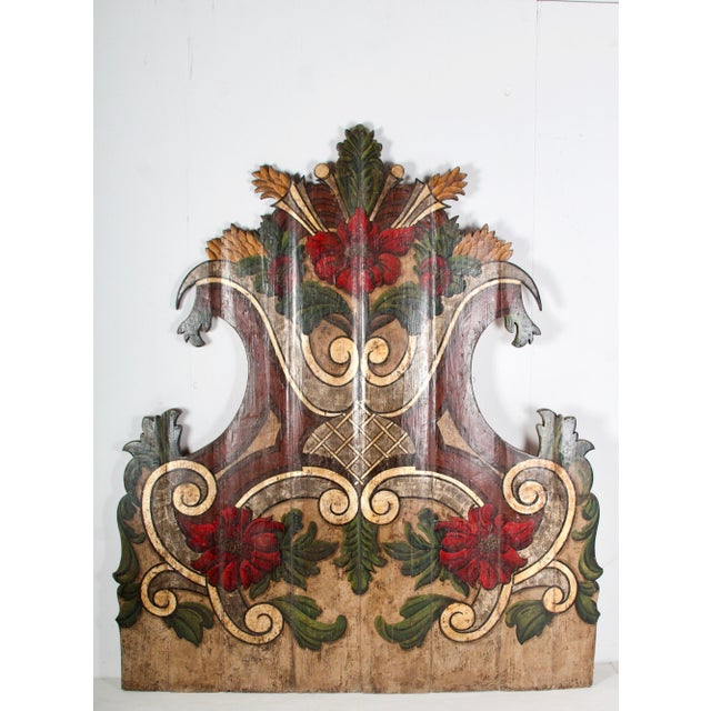 Mid 19th Century 19th Century Portugese Polycromed Headboard, For Sale - Image 5 of 12