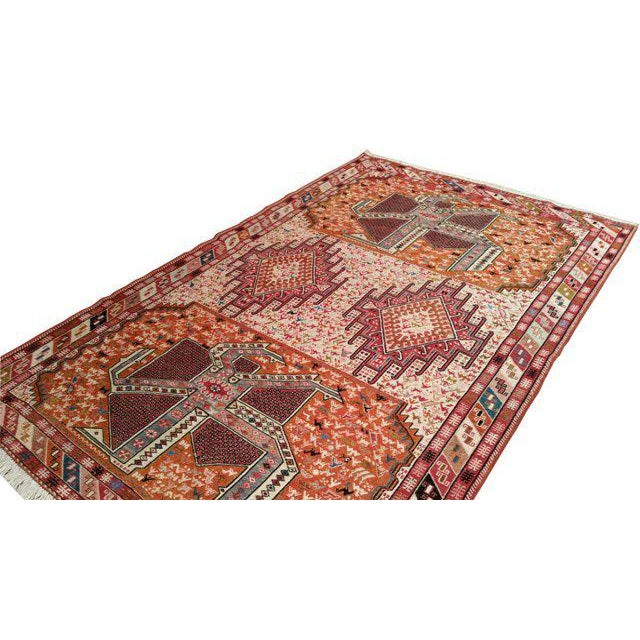 Art Deco Vintage Persian Silk Soumak Handmade Rug - 4x6 For Sale - Image 3 of 4