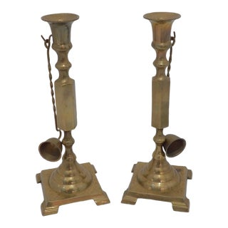 Vintage Archana Brass Candle Holders With Snuffers - Set of 4 For Sale