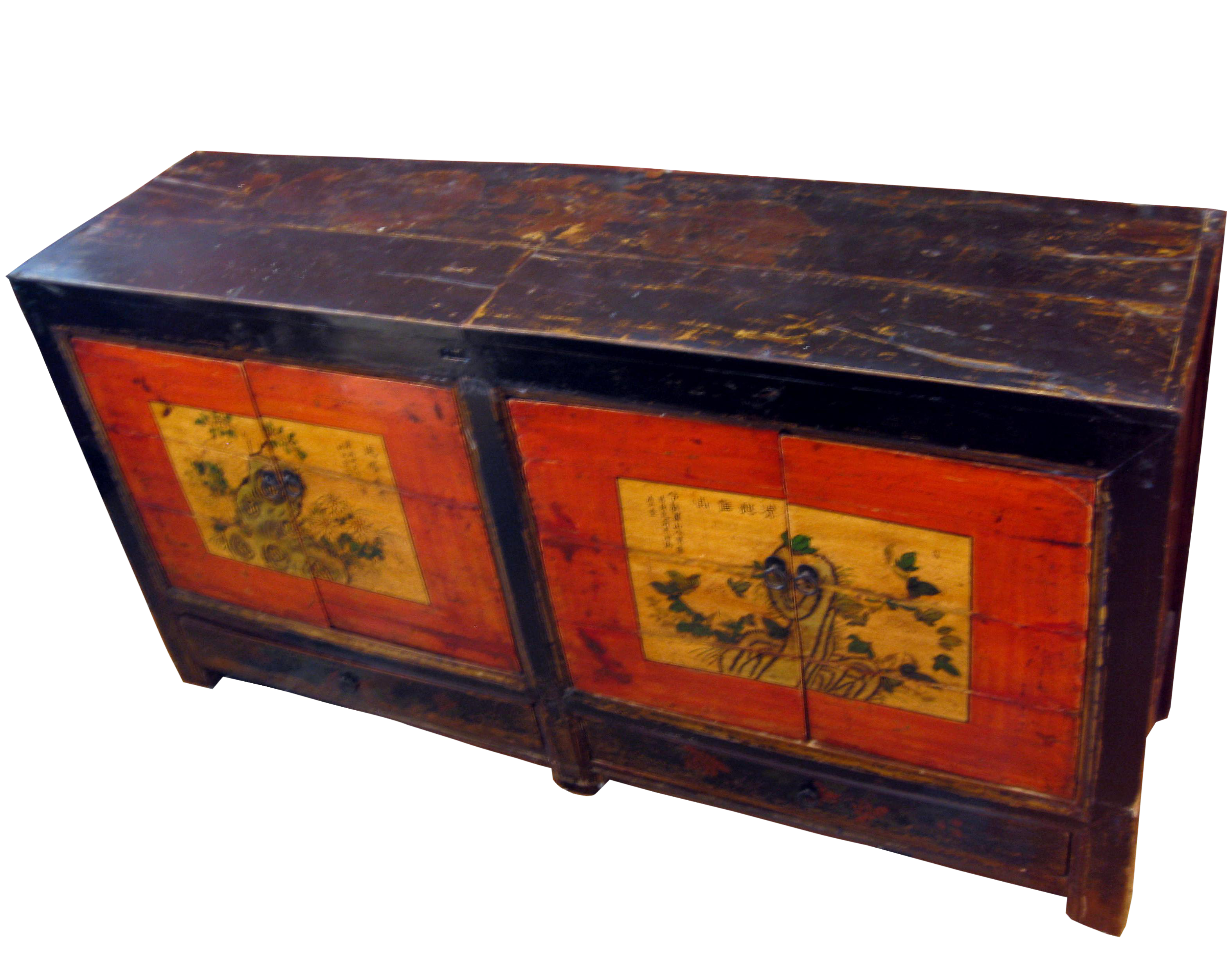Antique Chinese Hand Painted Buffet Cabinet