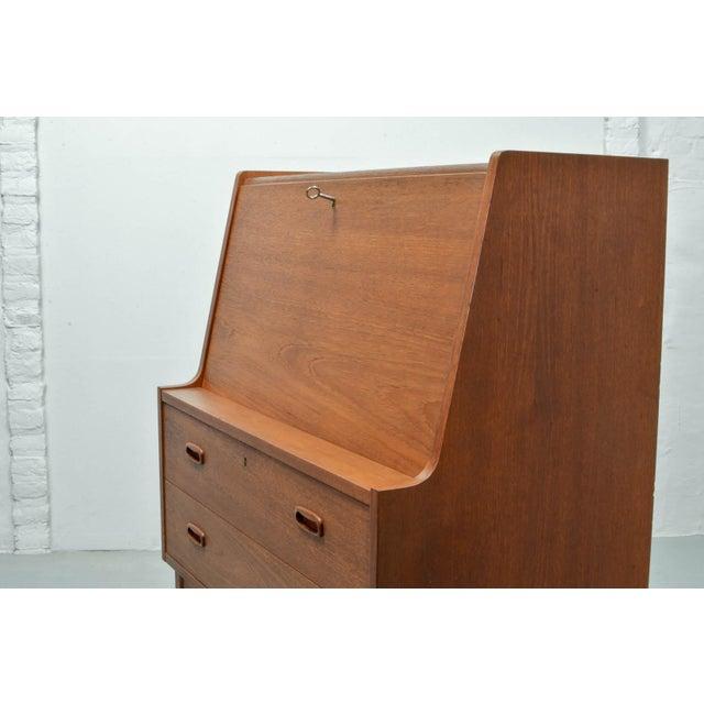 Glass Mid-Century Scandinavian Design Teak Writing Desk, Scandinavia, 1960s For Sale - Image 7 of 11