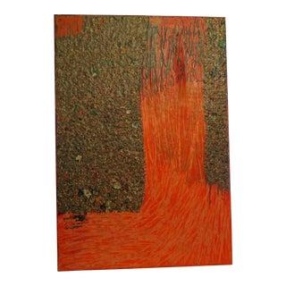 "1980's Abstract ""Wax"" Medium Painting"