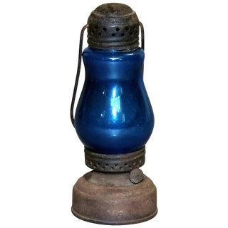 Antique Skater's Lantern With Blue Glass Globe, Circa 1870 For Sale