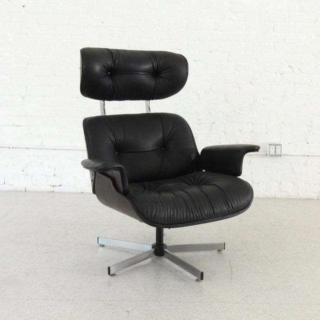 Black Vintage Black Leather Plycraft Lounge Chair For Sale - Image 8 of 8