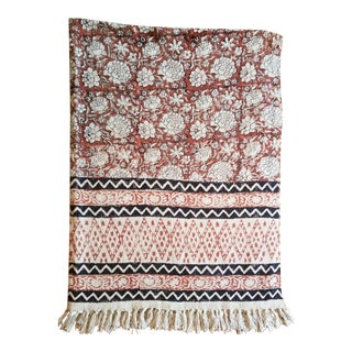 Hand Woven Block Printed Tribal Throw For Sale