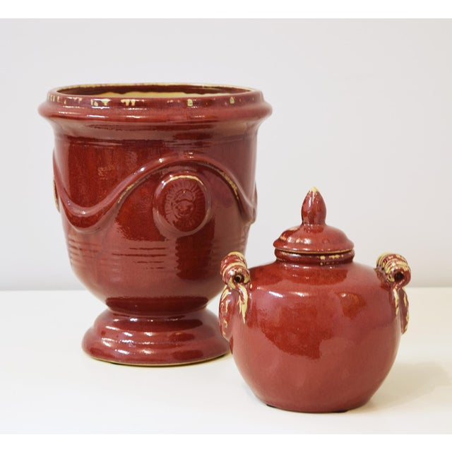 Brick Red Ceramic Urns - Set of 4 For Sale - Image 4 of 5