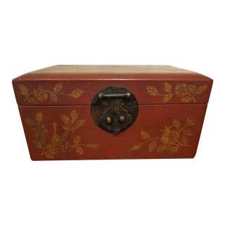 Chinese Red Leather Painted Gilt Box For Sale