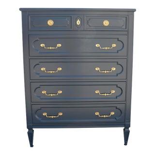 Vintage Traditional Dark Night Blue Highboy Dresser For Sale