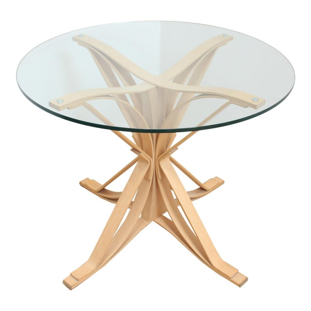 1992 Frank Gehry Face Off Table for Knoll- Maple and Glass For Sale